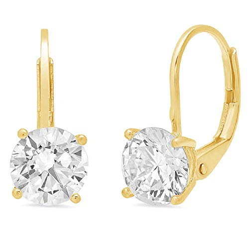 2.0 CT Brilliant Round Cut Simulated Diamond CZ Solitaire Drop dangle Lever Back Earrings 14K Yellow Gold