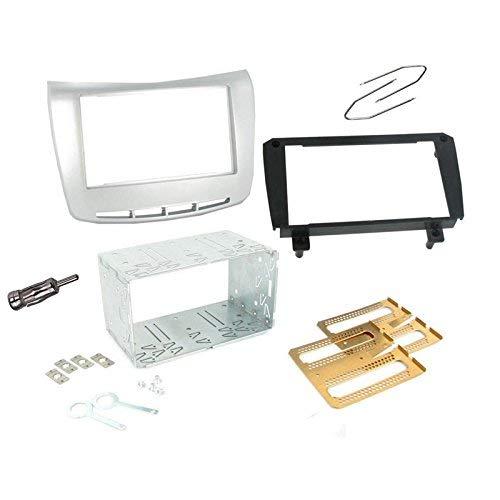 Sound Way Kit Montaggio Autoradio, Mascherina 1 DIN / 2 DIN, Plancia Metallica, Adattatore Antenna, Chiavi di Smontaggio, Compatibile con Lancia Delta