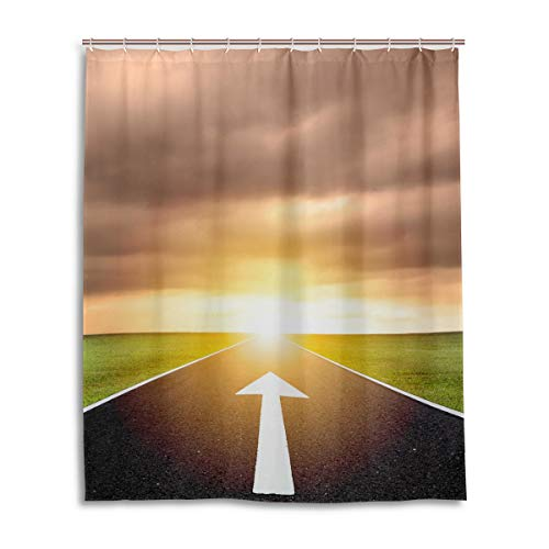 LUPINZ The Ahead Pfeil auf Asphalt Road & Sonnenuntergang Duschvorhang, wasserdicht, für Badezimmer, 152,4 x 182,9 cm