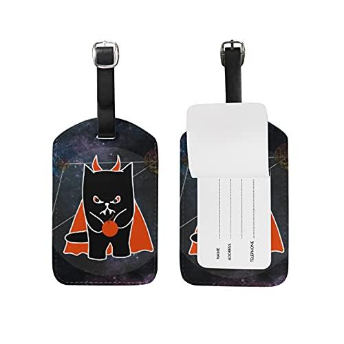 Gato del Diablo Espacial Viaje Etiqueta del Equipaje con la Tarjeta de la ID del Nombre Etiquetas de la Maleta para Niños Niñas(3PACK)