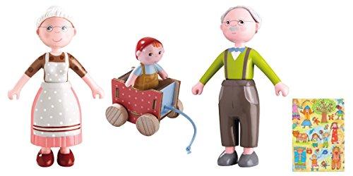 HABA Geschenkset Little Friends Biegepuppen Oma, Opa und Baby Casimir inkl. Geschenkverpackung