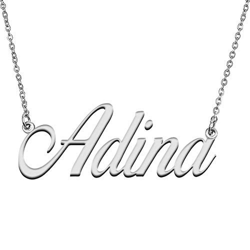GR859C Personalized Heart Pendant Name Necklace for Her Adina