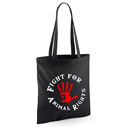 Fight for Animal Rights Tasche Beutel Schwarz Grau (Schwarz)