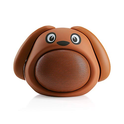 HUGMO Brown Dog Compact Bluetooth Portable Speaker, USB Rechargeable Battery, Built-in Microphone