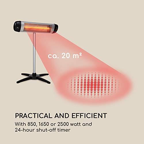 Blumfeldt Rising Sun • Infrarot-Heizstrahler • Carbon-Heizelement • gezielte Wärmeabgabe • Höhenverstellbarkeit von 70 cm • Stativ-Standfuß • 850 / 1650 / 2500 Watt Leistung • Abschalt-Timer bis 24 St. • LED-Anzeige am Gerät • Fernbedienung • Aluminium - 6