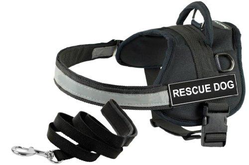 Dean and Tyler Hundegeschirr, Rettungshund, Größe XXS (46, 51) + eine gepolsterte Welpen-Leine, 182 cm, Edelstahlverschluss, Schwarz
