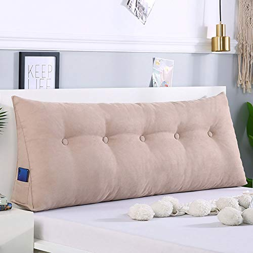 Cojín triangular de color sólido para la cabeza de la cama con respaldo grande, extraíble y lavable (color: beige, tamaño: 150 x 50 x 20 cm)