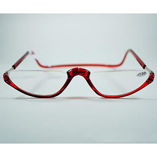 Presbyopia Brillen Halbrand Lesebrille Hängende Brillen Brillen Klares Sehen Reduzieren Sie Augenbelastung Brillen Älteres Sehvermögen Funktion Abnehmgrad +1,0 bis +3,0,Red,2.5