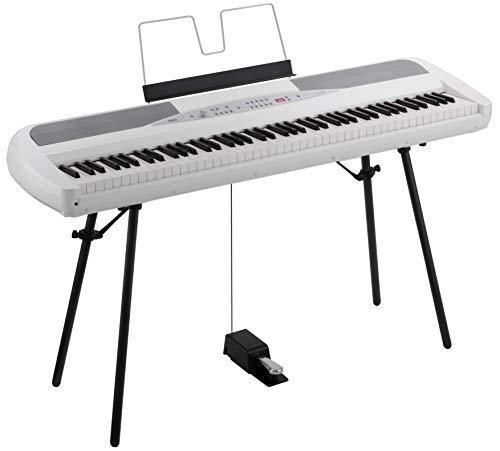 KORG Digitalpiano SP280, Bühnen-Keyboard mit 88 Tasten, digitales Klavier inklusive Ständer zum Üben und Auftreten, weiß