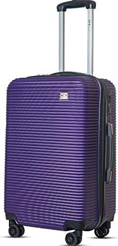 "ATX Luggage 24""/64cm Medium Super Lightweight Durable ABS Hard Shell Hold Luggage Suitcases Travel Bags Trolley Case Hold Check in Luggage with 8 Wheels Built-in Lock (24' Medium, Purple)"