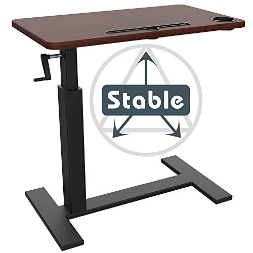 Balee Crank Overbed Table Adjustable Height Desk Rolling Over Bed Bedside Table with Wheels Sit-Stand Laptop Desk Hospital Bed Table Desk for Home and Office Use (Black and red Table)