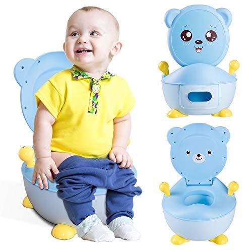 GOPLUS Vasino per Bambini con Schienale e 2 Appoggiabracci,Serbatoio Rimovibile 1,9L,Vasetto WC Toilette WC per Bimbo (BLU)