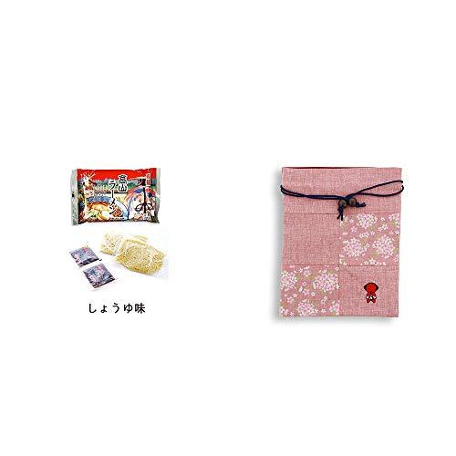 [2点セット] 飛騨高山ラーメン[生麺・スープ付 (しょうゆ味)]・おねがいさるぼぼ 巾着【ピンク】
