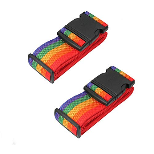 2 Luggage Straps for Suitcases Straps in Rainbow Coloured Travel Luggage Identifiers Straps Adjustable Long Suitcase Packing Belts