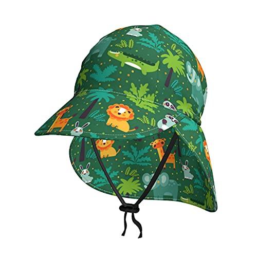 Baby Sonnenhut Wildtiere im Dschungel Sommer Flap Cover Cap für Kleinkind Säugling Jungen Mädchen Sonnenschutz Sportliche Mütze Gr. 2-4 Jahre, Schwarz