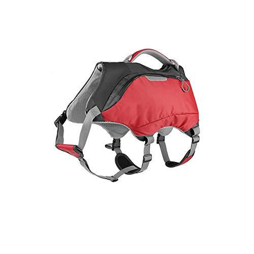 LSX Chaleco Salvavidas para Mascotas, Chaleco Flotante para Perros Traje de baño para Perros Mochila Deportiva al Aire Libre Bolso Doble propósito Adecuado para Nadar Remo Kayak - Rojo