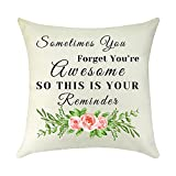 Inspirational Gifts for Daughter Throw Pillow Covers Graduation Birthday Gifts for Women Her Friend Sister Gift Coworker Gift Decorative Pillow Case Linen Cushion Cover Pillowcase for Sofa 18' x 18'