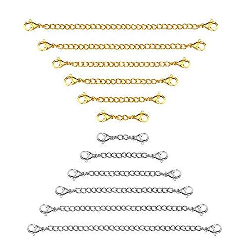 Sonline Extender Un Catena 12 Pezzi, Prolunga della Collana di Estensione del Braccialetto nel Acciaio Inossidabile di 6 Dimensioni per Gioielli DIY, Argento e Oro