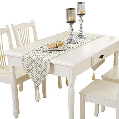 MEI XU Chemins de table - Simple Table de table blanche moderne Drapeau Drapeau Salon Table basse Meuble TV Restaurant Longue nappe Chambre Serviette de lit (Taille 4) Décoration de bureau