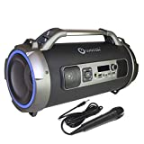Woozik Rockit Pro Wireless Speaker, Indoor Outdoor Wireless Boombox with FM Radio, and Micro SD Card, USB, MIC, and Aux 3.5mm Support, Microphone for Karaoke Machine, Party, LED Lights and Subwoofer