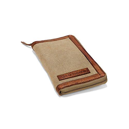 DRAKENSBERG Kimberley Travel Wallet, Travel Document case, Travel Purse, Passport Holder, Handmade, Buffalo Leather, Canvas, Beige, Sand-Coloured, Brown