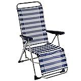 Acan Tumbona Plegable Playa Piscina 5 Posiciones a Rayas Azul/Blanco con reposapies 109 x 65 cm