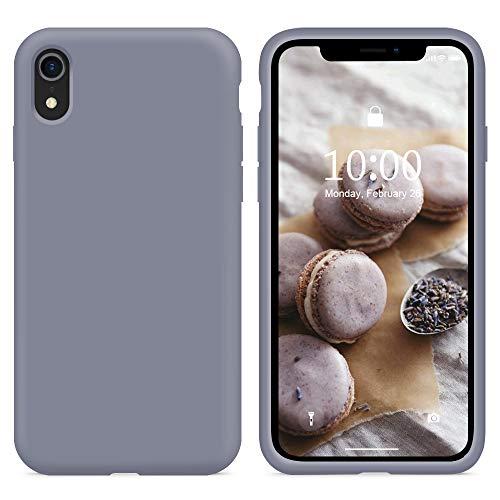 SURPHY Funda para iPhone XR Silicona Case, Carcasa iPhone XR Case, Fundas Silicona Líquida Protección con Forro de Microfibra, Compatible con iPhone XR 6.1 Pulgadas, Gris Lavanda