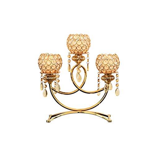 ZLBYB Kristall Metall Votiv Kerzenhalter 3 Arme Candle Stick Tischdekoration for Hochzeit-Dekor Crafts Teelicht Kerzenhalter