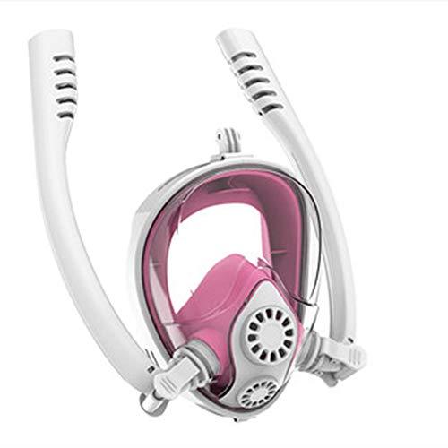 SJJ Máscara del Tubo respirador, Caja Fuerte respiración de la Cara Llena de Snorkel máscara con 180 ° panorámica Diseño Anti-Niebla Anti-Fugas de Snorkel con máscara de Buceo de Montaje de cámara