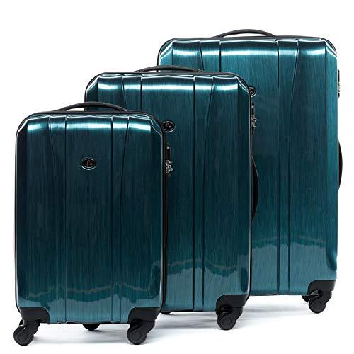 FERGÉ Kofferset Hartschale 3-teilig Dijon Trolley-Set - Handgepäck 55 cm, L und XL 3er Set Hartschalenkoffer Roll-Koffer 4 Rollen 100{4f3b7c11c697742b4c66ec55cb586166ebb66c7e9338abcaf5cf639462a79444} ABS & PC blau