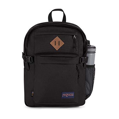 JanSport Main Campus Cordura - Mochila para escuela, viajes o trabajo con mochila para portátil de 15 pulgadas con bordes de cuero - negro - talla única