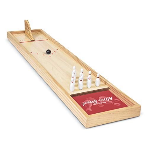 GoSports Tabletop Mini Bowling Game Set | Premium Wooden Construction with Dry Erase Scorecard | Perfect for Kids & Adults