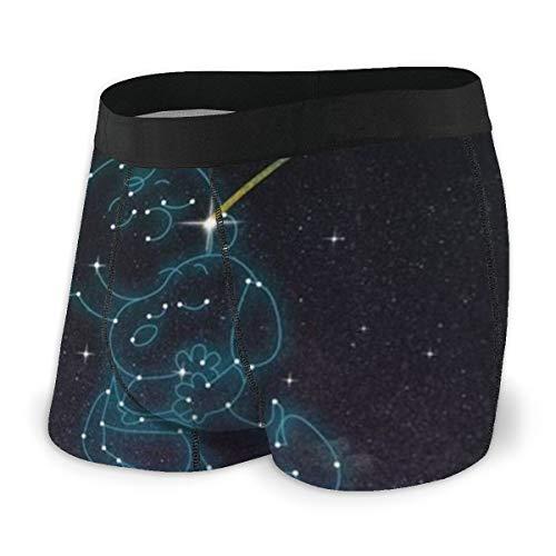 Snoopy Herren Boxershorts Unterhose Bedruckte Baumwolle Unterhose Elastisch Atmungsaktiv Und Bequem Viele Größen Gr. L, Schwarz