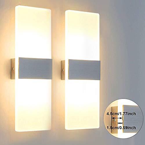 Glighone 2x 12W LED Wandlampe Wandleuchte Innen Modern Weiss Up und Down aus Acryl Warmweiss Flurlampe Innenleuchten für Wohnzimmer Schlafzimmer Esszimmer Treppenhaus Flur Korridor usw.