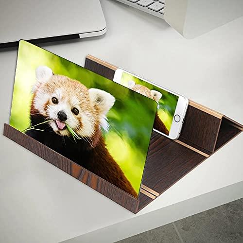 NpoSay Lupa de Pantalla Soportes Magnifier 3D ampliado Amplificador de Soporte de Soporte de Soporte de teléfono móvil (Color : Brown Wood Grain)