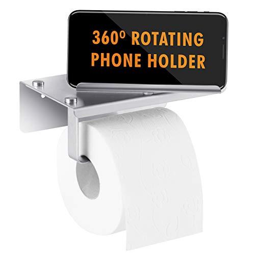 PIEKO Toilettenpapierhalter – Edelstahl Bad-Tuchspender – 360 drehbare Telefonhalterung mit Ablage, passend für Mega- und Jumbo-Rollen – Wandmontage, Schraube oder selbstklebend, gebürstetes Nickel