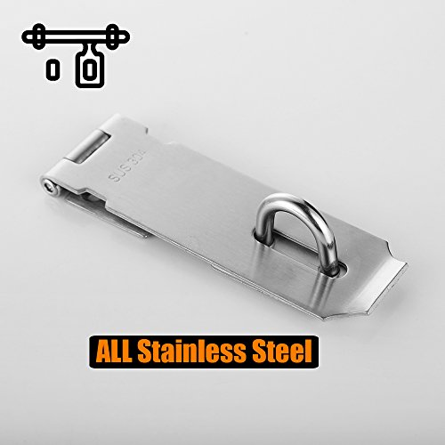 Product Image 4: JQK Door Hasp Latch Lock, 5 Inch 304 Stainless Steel Safety Packlock Clasp Thickness 1.9 mm, Brushed Finish, DL130-BN