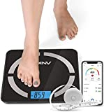 ANKO Bluetooth Body Fat Scale – Smart Digital Weight Scale with Free iOS & Android International APP, Auto Recognition of 12 Body Compositions, Auto On/Off - Included Free BMI Tape