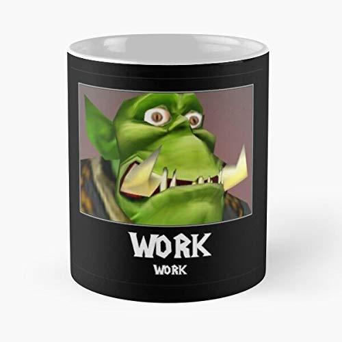 Wow Warcraft of Azeroth Wc3 World Work Blizzard Best Taza de café de cerámica de 315 ml con texto en inglés 'Eat Food Bite John Best Taza de café de cerámica de 315 ml