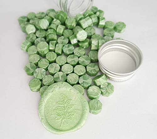 Gpeal 80 Pieces Metallic Fruit Lime Green Sealing Wax Beads Wax Seal Stamp Melts Beautiful Color Metallic Sealing Wax Wedding Invitations Christmas Gift Cards Party Envelopes Gift Packages Sealing Kit