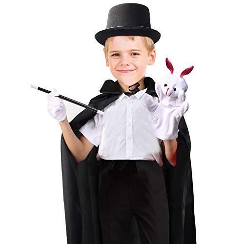 Beelittle - Juego de Disfraz de Mago para niños, Capa de Mago, Sombrero de Copa, Varita, Guantes, títere de Conejo con Juego de Trucos de Magia, Juego de Accesorios (Conjunto Negro)