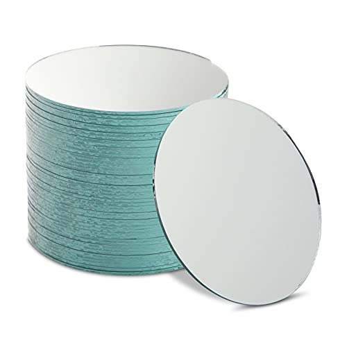 4 inch Round Mirrors for Crafts, Glass Circles, Tiles Bulk for Art, DIY Decoration (50 Pack)