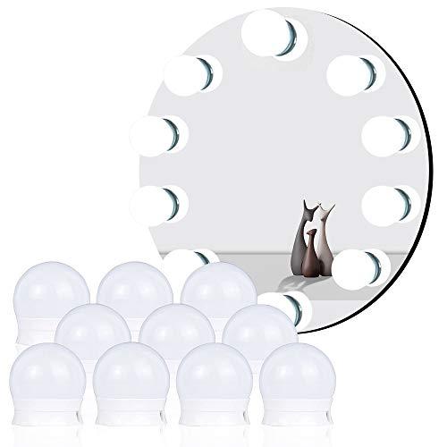 Veramz Dimmbar Schminklicht, Hollywood Stil Led Spiegelleuchte mit 10 Dimmbar Glühbirnen 7000K Schminktisch Spiegel Lichter Set für Kosmetikspiegel, Schminktisch/Badzimmer Spiegel Weiß