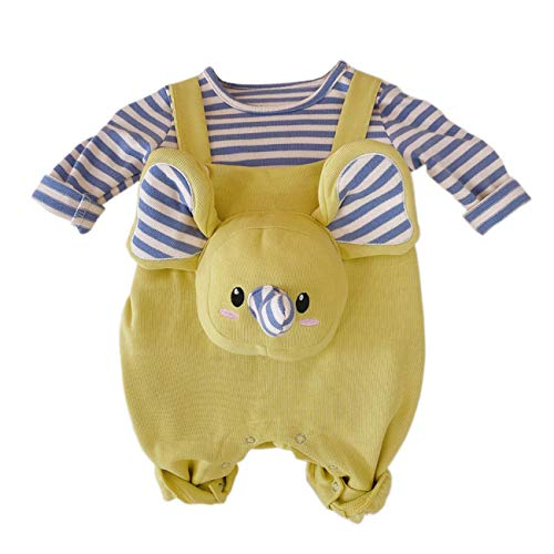 Infant Baby Cotton Romper Long Sleeve Bodysuit Kids Striped Top + Suspender Pants Suit for Baby Girls Adorable Front Elephant Footies Leotard Button Onesies Christmas Outfits Blue Green 3-6 Months