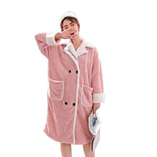 LaoZan Mujer Ropa de Casa Cálido Conjunto para Dormir Albornoz Pijamas Batas de Invierno con Botones