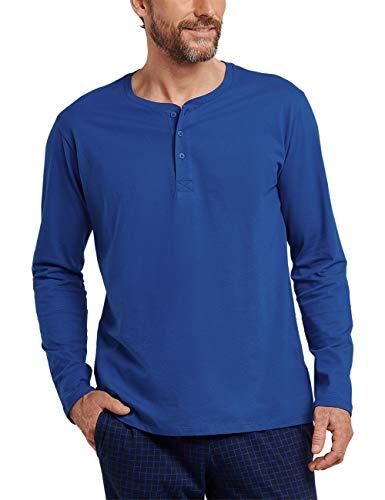 Schiesser Herren Mix & Relax Langarmshirt Knopfleiste Schlafanzugoberteil, Blau (Royal 819), Medium (Herstellergröße: 050)