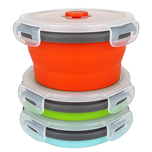 ECOmorning 3Piece Round Collapsible Lunch Container Silicone Food Storage Containers Collapsible Camping Bowl with Airtight Silicone Lids, Microwave, & Freezer Safe, 350ML