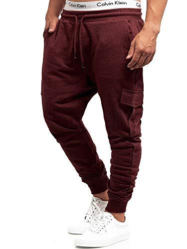 Indicode Bendner Pantalon de jogging pour homme cargo en 60 % coton | Coupe droite | Pantalon de loisirs pour homme - Rouge - W52