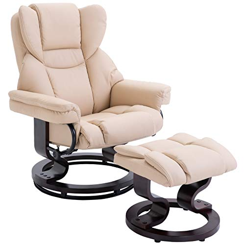 HOMCOM Reclining Swivel Armchair Footstool Set Sofa Padded PU Leather Relaxing Manual Duo Metal Frame Bentwood Base Beige