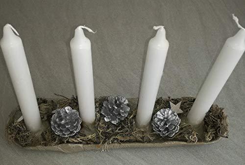 Adventskranz mit 4 cremefarbenen Kerzen Naturmaterialien Beton Stabkerzen Trockenkranz Advent Weihnachten